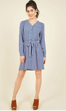 Modcloth Aquarium Date Dress Fits SMALL Sunny Girl Shirt Dress Long/Tab Sleeves