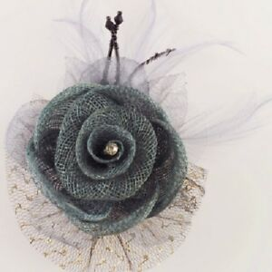 ELEGANT GREY FASCINATOR IN LINEN/TULLE/FEATHERS w SPARKLING DIAMANTE AT CENTRE