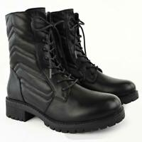 Womens Low Heel Army Worker Combat Ankle Boots Interlock Stitch Black Lace Up