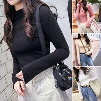 Autumn Winter Women Girls Long Sleeve T Shirt Solid Turtleneck Basic Tops Blouse