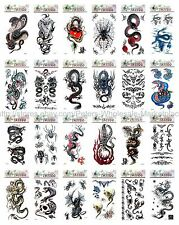 Us Seller, 20 sheets awesome fake men guy spider cobra tiger temporary tattoo