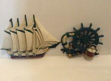 Vintage Homco/Home Interior Ship and Ship Wheel Wall Hangings, Home Decor, Beach
