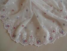 Elastische bestickte Spitze  in rose mit rosa und blau 21cm breit
