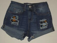 Mudd Denim Jean Shorts Embroidered NWT 7 Distressed Low Rise