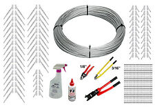 "Full Surface Mount Cable Railing Kit - 1000ft Cable, 1/8"" End Fittings, & Tools"