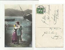 84673 antica cartolina  spedita da svizzera seemann abschied marinaio addio