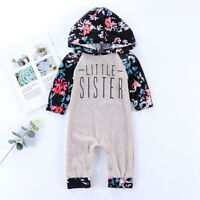 Newborn Baby Girl Floral Romper Hooded Jumpsuit Cotton Bodysuit Outfits Clothes