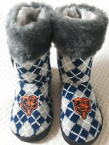 NEW NWT Chicago Bears NFL Women's Boots Fuzzy Knit Slippers Shoes Sz Medium 7-8