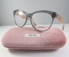 Miu Miu VMU 08N TKY-1O1 Gray & Rock Crystals New Authentic Eyeglasses 54mm wCase