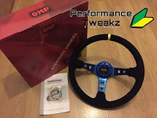 NEW UNIVERSAL BLUE OMP 350MM SUEDE DEEP DISH RACING STEERING WHEEL SPARCO NARDI