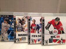 PS3 Sports Lot Of 4 Games Madden NFL 10 FIFA 10 MLB 10 NHL 09 Sony PlayStation 3
