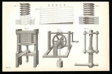 SCREW 1887 Wooden Book Press - Lifting Gear VICTORIAN  LITHOGRAPH