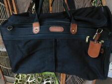 HARTMANN heavy-duty BLACK & cognac LEATHER trim GYM BAG carryon travel SHOULDER