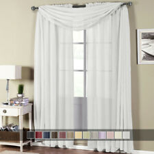 Abri Rod Pocket Crushed Sheer Curtain Panel set includes - 2 panels and 1 scarf