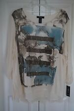 Style & Co. Woman Chiffon Hem Sequin Graphic Sweater Plus Size 2X NWT $56.50