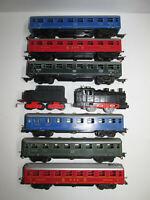 alte Dressler Dampflokomotive 500 + 6 Personenwagen HWN Bub Distler Spur H0