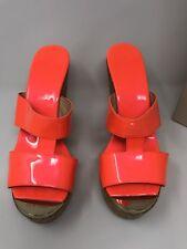 Jimmy Choo  women's Porter Cork Wedge Sandals  Neon Flame , size 40/ US 9