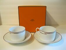 Beautiful HTF Hermes Rythme Red Breakfast Cups and Saucer IOB - EXCELLENT!