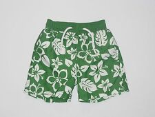 "Gymboree ""Little Tractor Co."" White Tropical Floral Green Swim Suit Trunk, 3-6 m"