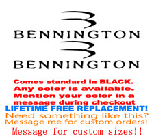 "PAIR OF 7"" X 21.7"" BENNINGTON BOAT HULL DECALS. MARINE GRADE. YOUR COLOR CHOICE."