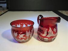 Czech Bohemian Ruby Red Cut To Clear Bird & Castle Cream & Sugar Seving Set
