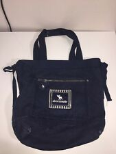 Rare ABERCROMBIE & FITCH Navy Blue Heavy Canvas Tote Work Book School Bag VGUC
