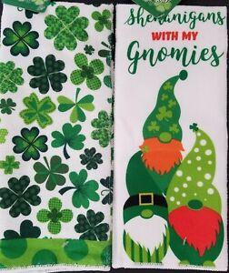 St. Patrick's Day Hand Towels Gnomes 'Shenanigans' +Shamrocks 2/Pk