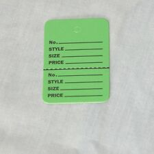 500 Light GREEN Small (1.1/4 x1.7/8) Perforated Unstrung Price Consi Store Tags