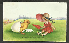 Easter, Girl Keeping Aloof a Chick With an Umbrella, Cute Old Postcard