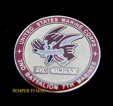 FOX COMPANY 2/7 2ND BATTALION 7TH US MARINES CHALLENGE COIN 1ST MAR DIV PIN UP 1
