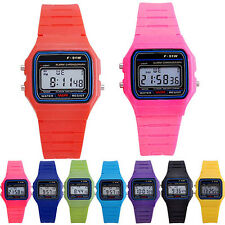 F-91w Couple Kids Sport Digital Rectangle Electronic Plastic Strap Casual Watch