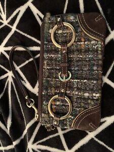 ** NWOT COACH Wool Blend Leather Suede Wristlet Purse Multi-Color Tweed **