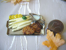 =1 SPARGEL-SCHNITZEL-PLATTE= Lebensmittel Miniatur Puppenstuben 1:12 / 1:10 byHW