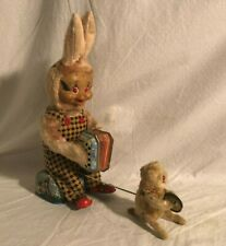 Alps Japan Accordion Playing Bunny with Baby Bunny Playing Cymbals Easter Rabbit