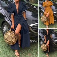 ZANZEA Women Puff Sleeve V-Neck Long Shirt Dress Evening Party Sexy Sundress NEW