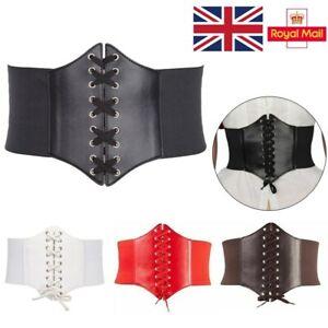 Ladies Waist Cincher Wide Band Elastic Tied Waspie Corset Leather Belt Slim Hot
