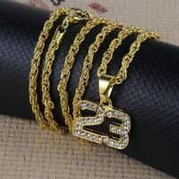Hip Hop Basketball Number 23 Rhinestone Gold Tone Pendant Necklace For Men Women