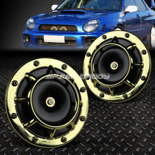 SUPER LOUD BLAST TONE GRILL MOUNT 12V ELECTRIC COMPACT CAR HORN 335HZ/400HZ GOLD