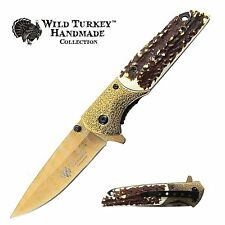 Wild Turkey Handmade Two Tone Spring Assisted Folding Pocket Knife