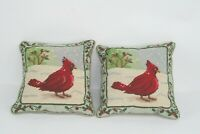 Two (2) Vintage Red Cardinal Bird Needlepoint Throw Pillows Christmas Winter