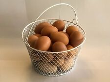 WIRE CHICKEN EGG BASKET... FOR GATHERING EGGS ...POULTRY... Round...White..