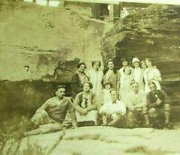 1920s Vintage Sepia Photo Sightseeing Group Mountain Fashion graffiti mb358