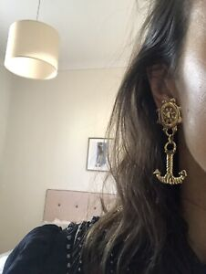 vintage 80s gold 90s chunky clip Nautical Shiny Dangle Shoulder Duster Earrings