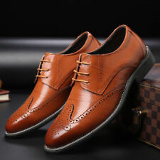 Fashion Men's Dress Oxfords Shoes Leather Suit Lace up Brogue Wing Tip Wedding