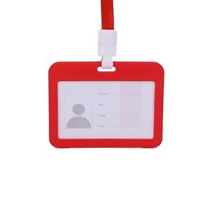 Card Protector 4 X 3 Inches With Lanyard Transverse Clear PP Plastic Card Holder