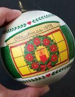 VINTAGE 1978 CHRISTMAS SILK BALL WREATH TREE ORNAMENT HOME IS ...