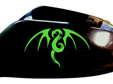 Tribal Dragon Car Sticker Wing Mirror Styling Decals (Set of 2), Neon Green