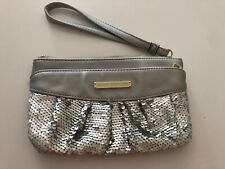 Juicy Couture Silver Wristlet Day Night Clutch Purse Vegan Leaser Classy Sequin