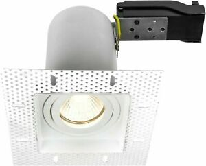 Trimless Downlight Tilt Plaster-In Fire Rated GU10 Adjustable Square Downlight