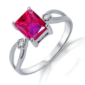 Traditional Emerald Cut Ruby Red Genuine Sterling Silver Ring 3.17 Ctw